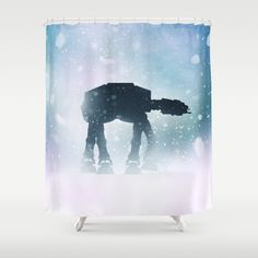Star Snow Walker White Robot Wars Tech Cassandre Medrano Shower Curtains