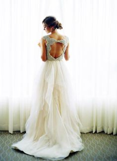 Swooning over the sparkly detailing on this open-back #wedding gown from Now and Forever Bridal Boutique!  {Image by Kelli Elizabeth via Grey Likes Weddings}