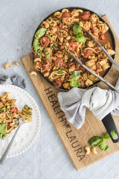 Paleo, Keto & Low Carb Chicken Zoodles in Garlic Basil Tomato Sauce | HealthyLaura