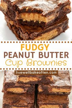 These Fudgy Peanut Butter Cup Brownies from Live Well Bake Often start with an easy homemade brownie recipe and are stuffed with peanut butter cups! These delicious brownies make the perfect party food and everone will love them! You will want to makle these delicious peanut butter cup brownies over and over again! Homemade Desserts, Best Dessert Recipes, Fun Desserts, Delicious Desserts, Easy Recipes, Cooking Recipes, Peanut Butter Cup Brownies, Peanut Butter Recipes, Peanut Butter Cups