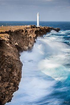 Cape Zanpa rough seas, Okinawa, Japan