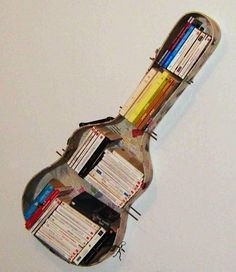 guitar bookcase for teen music theme room