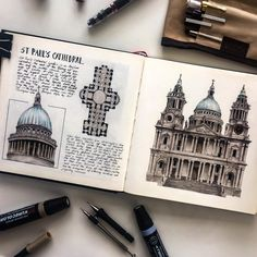 Pin by carbon on architectural renderings/sketches in 2019 рисунки, архитек Sketchbook Layout, Travel Sketchbook, Arte Sketchbook, Architecture Journal, Architecture Drawing Sketchbooks, Art And Architecture, Kunstjournal Inspiration, Art Journal Inspiration, Meer Illustration