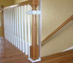 In the Stairway Gate Installation Kit (Model KidCo has assembled the materials and fasteners necessary to properly install any child safety gate to stairway banisters, without drilling into your expensive, decorative wood. Banister Baby Gate, Staircase Gate, Baby Gate For Stairs, Stair Banister, Stair Gate, Banisters, Stairways, Banister Ideas, Safety Gates For Stairs