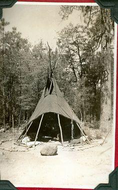 Teepee at encampment, 1920s