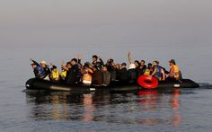 Syrian refugees on an overcrowded dinghy celebrate as they land on the Greek island of Kos after crossing part of the Aegean Sea from Turkey to Greece, early May REUTERS/Yannis Behrakis Prison, Chios, Refugee Crisis, Syrian Refugees, Kayak, Dinghy, Greek Islands, Greece, The Past