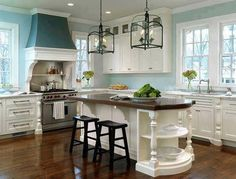 Gorgeous White Kitchen With Light Blue Walls Home Decorate Decorating Ideas Traditional Island