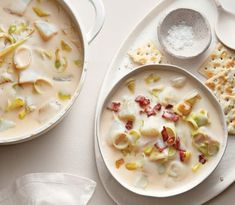 Transport yourself to the East Coast with a rich bowl of this fish, potato and cream soup. (We used haddock, but any white fish you like will taste great. Hearty Soup Recipes, Leek Recipes, Chowder Recipes, Chicken Soup Recipes, Bacon Recipes, Fall Recipes, Seafood Recipes, Cooking Recipes, Bacon Corn Chowder