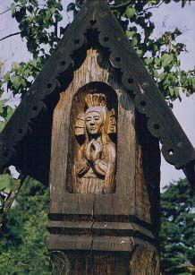 Lithuanian carved roadside shrine