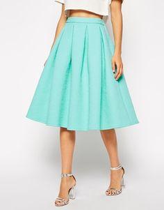 ASOS Full Midi Skirt In Scuba With Pockets | Misc | Pinterest ...
