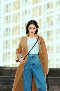 Beijing, china- june chinese actress Dili reba wearing farfetch brown coat and Jeans On rooftop,sexy and pretty Chinese woman , Asian Celebrities, Celebs, Ulzzang Korean Girl, Holy Chic, Chinese Actress, Asian Style, Asian Fashion, Bella, Asian Beauty