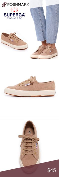 Superga 2750 Knitted Wool Beige Sneakers Superga sneakers in beige soft felt. Women's size 9.5 - EU 39.5. Brand new without box, in perfect condition. Tonal ties lace through logo-embossed grommets. Rubber sidewall and crepe sole. Retail $109 Superga Shoes Sneakers
