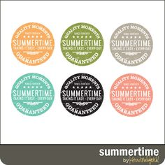 Free summer-themed circle labels, from Kerri Bradford