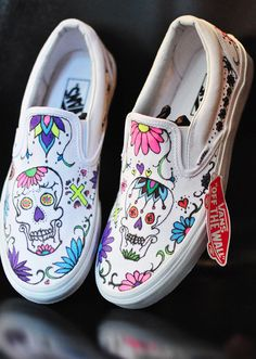Custom Sugar Skull Day of the Dead vans slip ons #Vanscustomculture