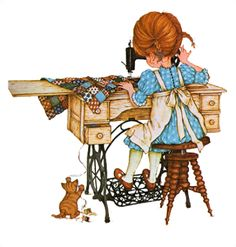 Betsey Clark, Holly Hobbie, Sarah Kay e outros Holly Hobbie, Sewing Art, Sewing Rooms, Pattern Sewing, Crochet Pattern, Cat Pattern, Decoupage, Papier Kind, Sara Kay