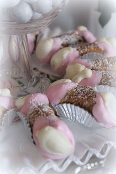 Pink & White Romantic Candy & Dessert Table for Bridal Shower/ Pink chocolate Mini Cannolis/ The Chocolate Rose Cake Shoppe & Bakery Wedding & Event Planning/ The Perfect Table Cape Cod