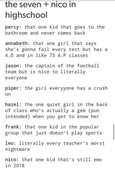 The Seven and Nico di Angelo in High school | percy jackson tumblr posts | pjo
