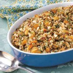 Almond Wild Rice - includes both brown and wild rice, golden raisins, slivered almonds.