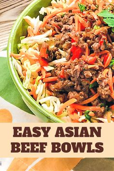 We love Asian flavors so I'm always on the look out for easy ground beef recipes for dinner. Easy Asian Beef Bowls is a ground beef recipe your family will enjoy - a fast, easy and healthy skillet meal. Recipes Using Ground Beef, Ground Beef Recipes For Dinner, Dinner Recipes, Meal Recipes, Beef Bowl Recipe, Bowls, Asian Beef, Quick Easy Meals, Skillet