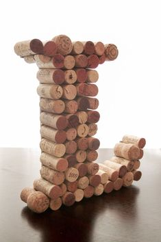 Upcycled Wine Cork Letter