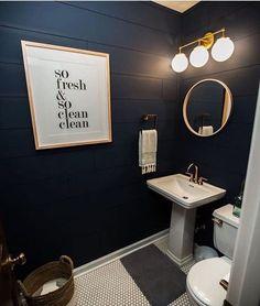Black and blue bathroom ideas black bathroom decor best navy bathroom ideas on navy bathroom decor navy blue bathroom decor and black white bathroom ideas Navy Blue Bathroom Decor, Dark Blue Bathrooms, Small Dark Bathroom, Bathroom Black, Bathroom Colors, Penny Tile Bathrooms, Small Toilet Room, Half Bathrooms, Silver Bathroom