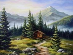 bob ross paintings landscapes Painting, Oil by Najgyonov Alexandr (Hungary) via Mountain Art, Mountain Landscape, Landscape Art, Landscape Paintings, Bob Ross Paintings, Scenery Paintings, Mountain Paintings, Beautiful Paintings Of Nature, Beautiful Landscapes