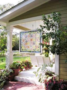 Make Your Own Faux Stained-Glass Windows - These faux stained glass windows are made with the same method I used for my little sparkling windows: the decorative glass, marbles, and beads are attached to glass panes (in a picture or window frame) using silicone sealant.