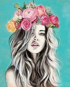 Girls with Flower Crown Drawing Girls with Flower Crown Drawing. Girls with Flower Crown Drawing. Flower Crown Girl by On Deviantart in flower crown drawing Drawings Girls With Flowers In The Hair Photography Projects, Art Photography, Fashion Photography, Flower Crown Drawing, Flower Drawings, Arte Fashion, Creation Art, Arte Pop, Art Inspo