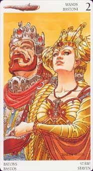 Tar Card 2Wands The Avalon Tarot is an Arthurian-themed tarot, but set in a fantasy-medieval world