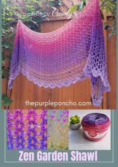 Zen Garden Shawl Free Crochet Pattern in Pink and Purple lace on thepurpleponcho.com Crochet by Carolyn #fashion #crochetpatterns  #crochetlace #thepurpleponcho