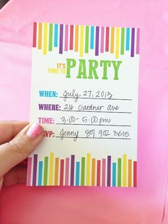 17 Free Birthday Invitation Designs You Can Print 17 Free Printable Birthday Invitations You Can Print: Free Birthday Party Invite from Love Stiched Rainbow Loom Party, Rainbow Parties, Rainbow Birthday Party, Art Birthday, Rainbow Candy, Birthday Parties, Birthday Ideas, Free Printable Party Invitations, Art Party Invitations