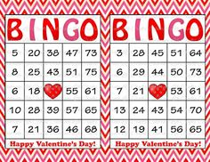 30 Valentines Printable Bingo Cards - Instant Download - Valentine's Day Party Game - Pink Red Chevrons - Kids School Classroom Parties