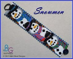 SNOWMEN Peyote Cuff Bracelet Pattern  These cheerful snowmen are all ready for winter in their colorful hats and scarves. Wrap your wrist in holiday fun with this snowmen cuff, stitched in two-drop peyote.  -------------------  SPECIFICATION: • Pattern designed using Miyuki Delica beads size 11 • Length: 7.25 in (18.40 cm) • Width: 1.50 in (3.70 cm) • Colors: 23 • Technique: Even-count two-drop peyote • Skill Level: Beginner  This pattern is in PDF Format and included:  • Bead legend of…