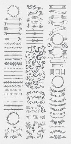 Buy Hand Drawn Vintage Elements Collection by egirldesign-vectors on GraphicRiver. Hand drawn vintage elements collection A set of 111 hand drawn vintage elements – dividers, frames, ribbons, phrases . Bullet Journal Inspo, Borders Bullet Journal, Bullet Journal Banner, Bullet Journal Lettering Ideas, Bullet Journal Notebook, Bullet Journal Aesthetic, Bullet Journal Ideas Pages, Bullet Journal Frames, Bullet Journals