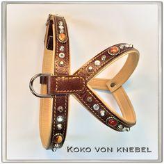 Custom Made Harness - Bi-Color leather with Soft Studs