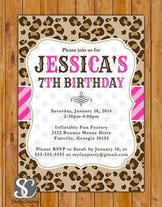 Colorful Pink Cheetah Print Birthday Party by scadesigns on Etsy, $16.00