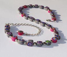 Ketten kurz - Kette aus Polymer-Clay-Perlen - ein Designerstück von Bleysafy bei DaWanda