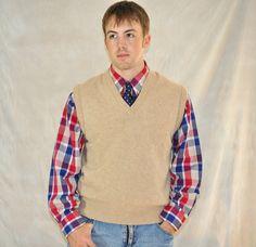 Mens Sweater Vest Large Vintage Unisex Zip Up Gray w/ Black ...