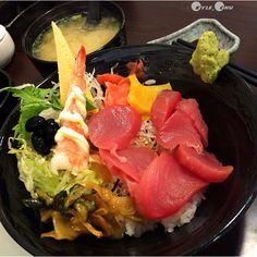 台灣鮪魚丼的雨夜救援。Tuna #Sashimi with rice #Taiwan #food
