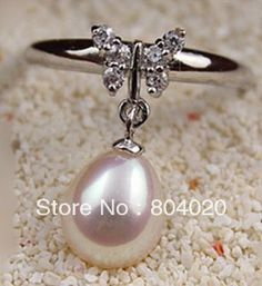 New Elegant natural pearl rings with silver butterfly rhinestone waterdrop 9-10mm freshwater pearl Free to adjust Best gifts US $19.99