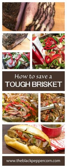 Leftover Brisket on a Bun Recipe - Beef Dip - How to save tough brisket by braising in the oven. Recover smoked brisket that was tough will be tender. Serve on a bun with onions and peppers.