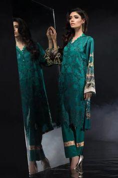 Sapphire Festive Collection 2019 Satin Trousers, Teal Fabric, Satin Shirt, Silk Dupatta, M Color, White Fabrics, Winter Collection, Sapphire, Kimono Top