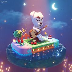 Hello everyone, This is K.Slider scene art I recently made. It was a fun project to design and for learning new things. It is based on the original character from the Animal Crossing game. Animal Crossing Fan Art, Animal Crossing Memes, Animal Crossing Villagers, Images Kawaii, Pokemon, Alien Art, Dibujos Cute, Fun Projects, Sliders