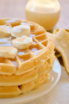 Banana Cream Waffles drenched with a homemade vanilla syrup. Easy breakfast recipe.