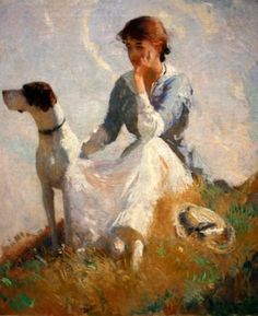 A contemplative painting by Frank Benson.  This is the painting we own and it's hanging in the St Louis art museum.  I remember this hanging in my grandma's living room:)