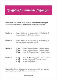 Free training plan for beginners! Jog from 0 to 30 minutes in 4 weeks! :-] # running plan # training plan # running beginner Free training plan for beginners! Jog from 0 to 30 minutes in 4 weeks! Pilates Workout, Best Cardio Workout, Planet Fitness, Gonna Make You Sweat, Going To The Gym, Freeletics Workout, Transformation Fitness, Crunch Challenge, Running For Beginners