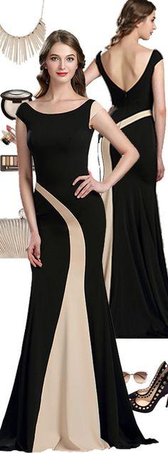 Elegant Black and Champagne Mermaid Occasion Dress #eDressit