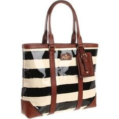 kate spade tote. i simply adore black and white stripes with brown/camel accents