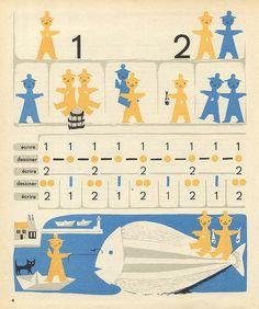 LA RONDE DES NOMBRES (1957), VINTAGE FRENCH CHILDREN'S BOOK, PAGE 4