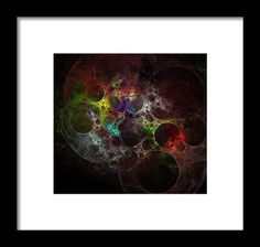 Anna Maloverjan Framed Print featuring the digital art Multicolored Fractal With Holes by Anna Maloverjan  holes, multicolored, abstract, fractal, circles, circle, space, chaos, round, excitement, passion, careless, enigmatic, background, portal, port, glow, design, light, element, creative, graphic, illustration, art, concept,